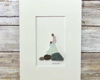 Mom and Daughter, Original Art, seaglass art, Sharon Nowlan, Pebble art, 6 by 8, grandmother gift, gift for mom, gift for daughter