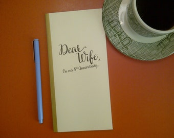 5th Anniversary // Dear Wife On Our 5th Anniversary Journal // Staple Bound Journal