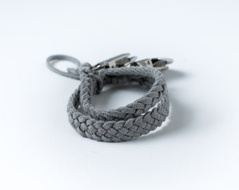 Braided Suede Leather Pacifier Clip | Grey