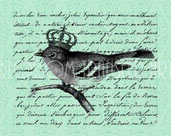 Handwrite - Bird - Transfers - Iron on burlap, totes, pillows, fabric - Download for papercrafts - DIY - 1676