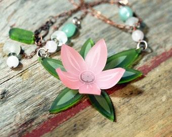 Acrylic jewelry, acrylic jewellery, art necklace, acrylic necklace, acrylic necklaces, chunky pink,bold necklace, sea glass, wedding