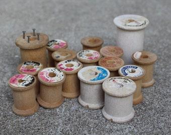 Vintage Wooden Sewing Thread Spools Repurposing Crafting