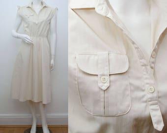 "1980s Dress Cream Cotton Safari Summer Day Dress 80s Calf Length Chest 34"""