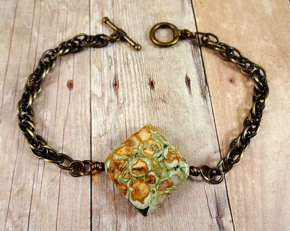 Boho Rustic Wire Wrapped Ryolite and Chain Bracelet