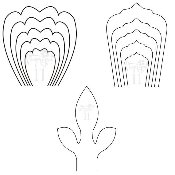 PDF. Set of 2 Flower Templates and 1 Leaf Template .Giant Paper ...