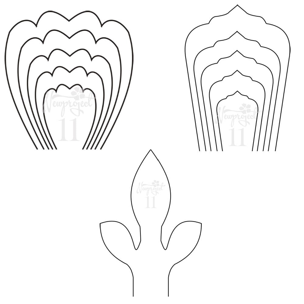 PDF. Set of 2 Flower Templates and 1 Leaf Template .Giant Paper Flower Template. Flower Wall ...