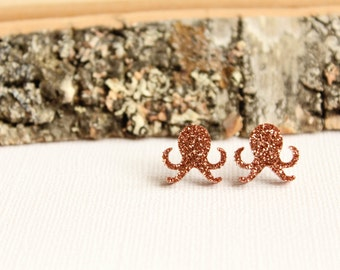 Glitter Octopus Studs, Laser Cut Acrylic Earrings, Sparkly Ocean Sea Creature, Copper Glittery, Cute Kawaii, Unique Gift Under 15
