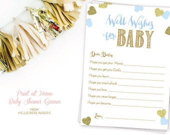 Blue and Gold Baby Shower Games . Well Wishes for Baby Boy Printable . Dear Baby . Instant Download . Baby Boy Shower . Glitter Hearts