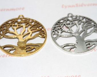2 pcs - 60 mm Tree of Life Pendant  Antique Silver or Gold Lead  Free Pewter