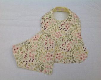 Baby bib set, dribble bib & feeding bib, baby accessories, baby shower, baby gift,  handmade
