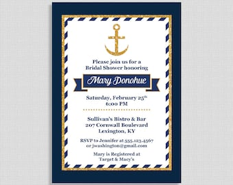 Nautical Bridal Shower Invitation, Navy and Gold Anchor Wedding Shower Invite, DIY PRINTABLE