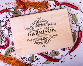 Personalized Cutting Board Wedding gift Monogrammed cutting board Anniversary Gift Housewarming Gift for Couple Custom Engraved Monogram