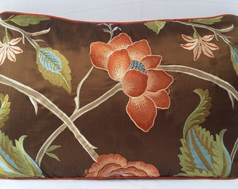 Botanical pillow. Dupioni silk decorative pillow with  Brown and orange floral embroidery. Silk  throw pillow cover. In stock   14x22 inches