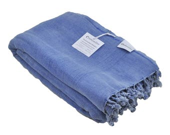 Blue Stonewashed Turkish Blanket for use as a Sofa Throw or Partial Bed Cover, Decorative Cozy Cotton Stone Washed Turkish Throw Blanket