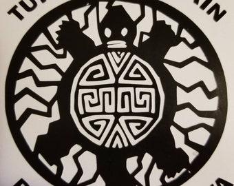 turtle mountain band of chippewa vinyl window decal.