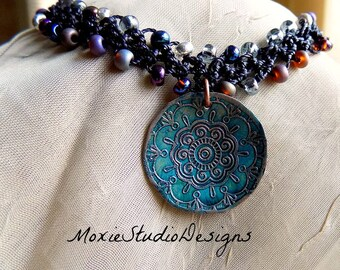 Mandala Choker Necklace,  Crochet Choker, Choker Necklace, Crochet Necklace, Boho Jewelry, Zen Necklace, Zen Jewelry