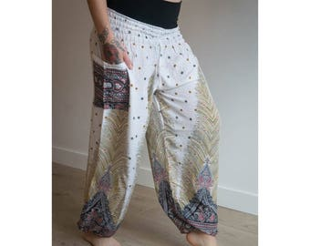 White Aladin Thai Harem Haram Yoga Pants | Tribal Fusion | Gypsy Hippie | Belly Dance | Pyjamas | Burning Man Festival Rave Clothing |
