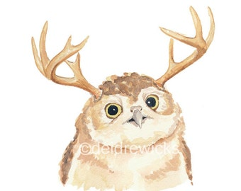Owl Watercolor Painting PRINT - Animal With Antlers, Nursery Art, Woodland Decor, Owlope