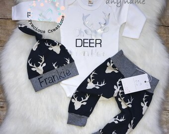 Oh Deer I am here Outfit Take Home Baby Boy Outfit  Newborn Baby Boy Outfit  Deer Outfit Boy Navy Deer Pants Baby Shower Gift