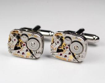 Steampunk Cufflinks Striped HAMILTON 911 Ruby Jewel Watch Movement Cuff Links - Great for Wedding Gift - Fathers Day - Anniversaries