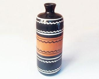 Vintage ceramic vase Hand painted Pottery Unique bottle Clay Ceramic vessel Rustic decor Old Ukrainian gift Farmhouse Centerpieces Antiques