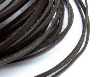 2x3mm Genuine Leather Cord Black Natural 10m String - for  -