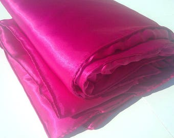 Fuschia Satin Blanket Throw - Large Hot Pink Luxurious Accent Blanket - Living room Accent - Bedroom throw blanket