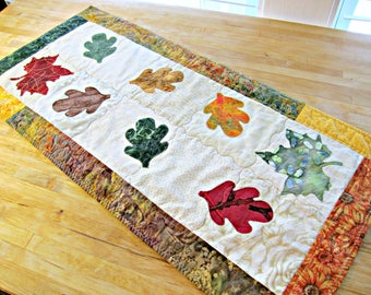 Autumn Table Runner, Fall Table Runner, Quilted Table Runner, Thanksgiving Runner, Table Topper, Batik Runner, Applique Runner, Fall Decor