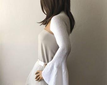 Bridal Shrug, Wedding Shrug, White Shrug, Bridal Bolero, Bell Sleeve Shrug, Bridal Cover Up
