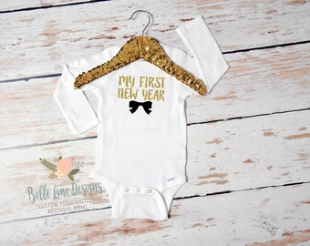 Baby Girl My First New Year Onesie | First New Year | Baby Girl New Year Outfit | Happy New Year Outfit for Girl | Cake Smash Outfit | 153