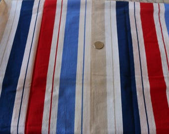 16 Weilwood Brand fabric Red Navy Royal Beige and white stripe.