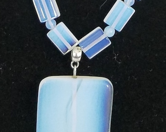 Long Opalite Necklace with Opalite Pendant Sea Opal