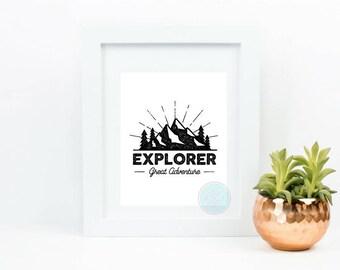 PRINTABLE ART Explorer Print Gift For Explorer