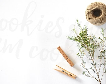 Styled Stock Photography | crafters table - string, twine, pegs, branch, leaves | High Res Image