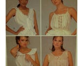 "Camisole Pattern, Four Styles, V-neck, Drawstring, Ruffle, Peplum, Lace Trim, Sleeveless, McCalls No. 8592 UNCUT Size 12 (Bust 34"" 87cm)"