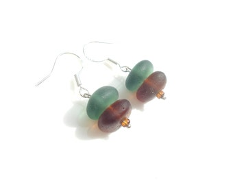 Golden Brown and Green Sea Glass stack earrings on Sterling Silver hooks - dangle and drop earrings -E1195 - from Seaham, England