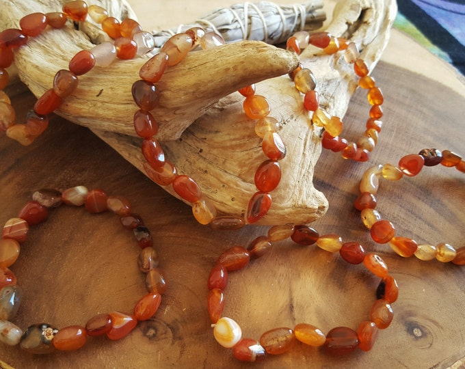 Tumbled Carnelian stretchy bracelet ~ 1 Reiki infused gemstone bead bracelet approx 8 inches
