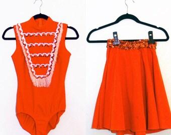 Vintage Orange Fringe/Sequin Bodysuit Skirt Set Dance Uniform (Extra Small-Small)