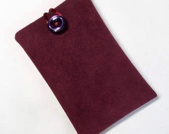 Handmade iPod nano 7th and 8th generation pouch. Maroon faux suede.