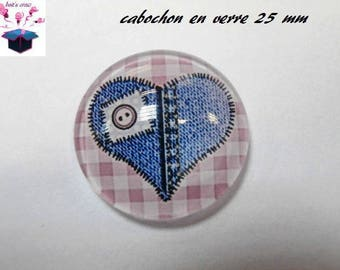 1 cabochon clear 25 mm round denim heart theme