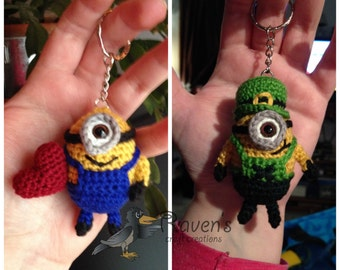 Minion Keychain, ornament, dangle - MADE to ORDER- Valentine's, Leprechaun