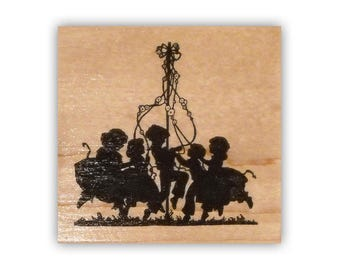 Children dancing around the Maypole Sihouette mounted rubber stamp, kids, spring, dance, Crazy Mountain Stamps #1