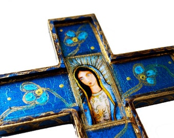 Pre- order - Our Lady of Guadalupe - Wall Cross Mixed Media Art by FLOR LARIOS