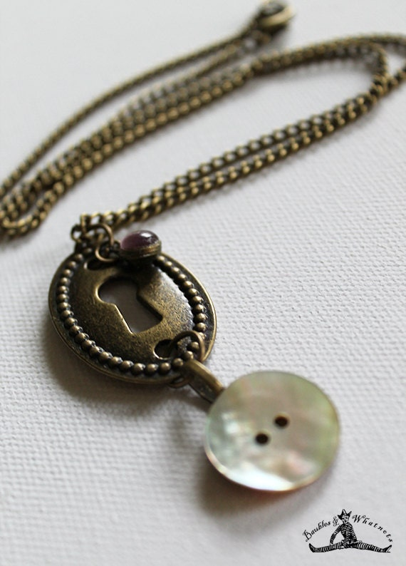 Vintage Bronze Keyhole with Vintage Mother-of-Pearl Button - Long Necklace - OOAK