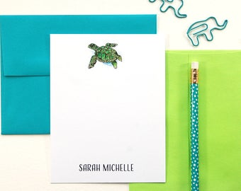 Sea Turtle, Personalized Stationery Set, Kids Personalized Stationary, Watercolor Stationary Set, Flat Note Cards, Set of 12