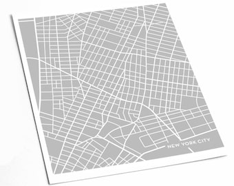 new york city map art print downtown nyc poster art print 8x10 abstract line