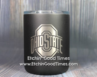 Ohio State Polar Camel 10 oz. OFFICIALLY LICENSED Matte Black Vacuum Insulated Tumbler w/Clear Lid