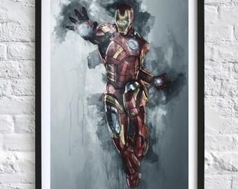 Avengers - Iron Man 'Watercolor' A4 Print