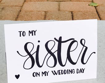 To My Sister on My Wedding Day card and envelope