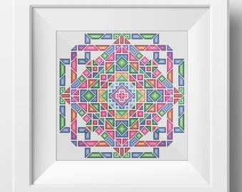 Geometric Mandala No. 1  - Modern Crosstitch Embroidery PDF pattern